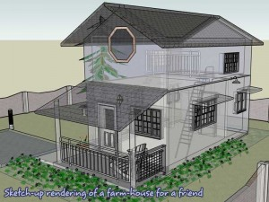 A sketchup rendering of a farm house for a friend.