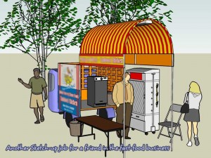 Another rendering of a sketchup design of a portable food cart for a friend in fast food business.
