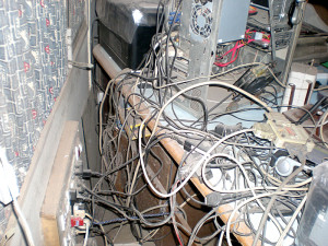 mess of wires and soot behind my table
