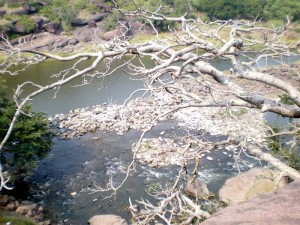 temple side view of Betwa river in Bhojpur