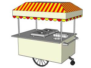 a foodcart render in sketchup