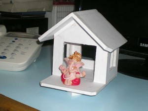 a hut we made for Ganesh