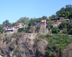 a small village balanced on a cliff